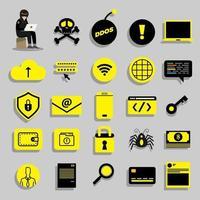 ikoner för cyberhacker vektor