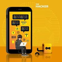 Cyber-Hacker stehlen Daten auf Internet-Gerät vektor