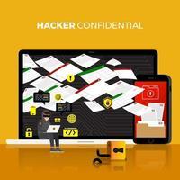 cyberhacker som stjäl data på internetenhet vektor