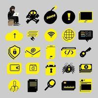 Cyber-Hacker-Symbole vektor