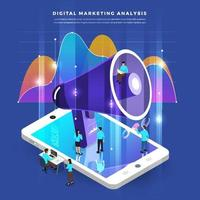 isometrisk digital marknadsföring teamwork