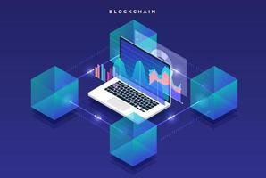 Blockchain- und Kryptowährungstechnologie mit flachem Designkonzept. Komposition für Layout Design Website Banner. isometrische Vektorillustration.