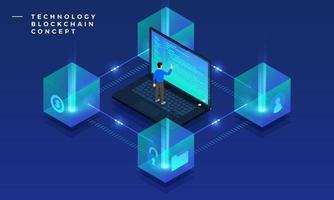 Blockchain- und Kryptowährungstechnologie mit flachem Designkonzept. Komposition für Layout Design Website Banner. isometrische Vektorillustration. vektor