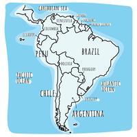 Doodled Südamerika Karte vektor