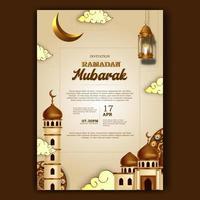 ramadan mubarak iftar inbjudan affisch elegant med moské och lykta dekoration vektor