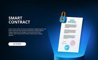 digitalt smart kontrakt för elektroniskt tecken dokumentavtal säkerhet, ekonomi, juridiska företag. papperscertifikat med hänglåscylinderpallen