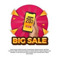 hand som håller telefonen för stor försäljning sociala medier mall. reklam för marknadsföring för rabatt på handel