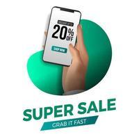 hand innehav telefon för super försäljning sociala medier mall. reklam för marknadsföring för rabatt på handel