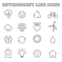 miljö linje ikoner