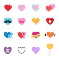 färgglada valentine hjärta ikoner vektor