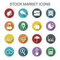 aktiemarknad långa skuggikoner vektor