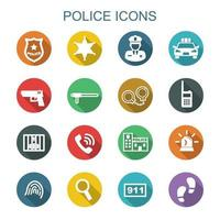 Polizei lange Schatten Symbole vektor