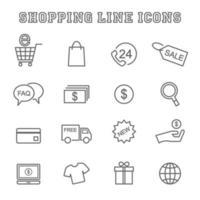 shopping linje ikoner vektor