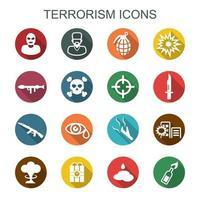 terrorism långa skuggikoner vektor