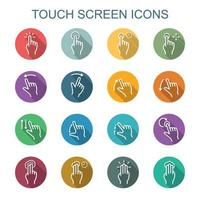 Touchscreen lange Schattensymbole vektor