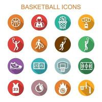 basket långa skugga ikoner vektor