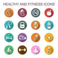 friska och fitness långa skuggikoner vektor