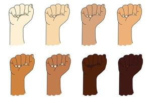 Sammlung menschlicher ethnischer Hände mit unterschiedlicher Hautfarbe. Handbewegung. erhobene Faust oder geballte Faust. Vektorillustration lokalisiert auf Weiß vektor