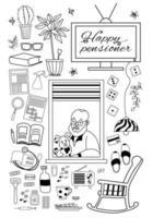 Großeltern Tag. glücklicher älterer Mann im Fenster einer Wohnung mit Hund und Dingen für ein gemütliches Leben.