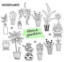Satz niedliche Zimmerpflanzen in Töpfen. Haus der Blumen und menschlichen Hobbys. Botanisches Set - viele Blumentöpfe - Kakteen, Tulpen, Blumen, Setzlinge, Aloe, Tropen. Webstoffe und Schmetterlinge. Vektorlinie Kritzeleien vektor
