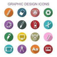 grafisk design långa skuggikoner vektor
