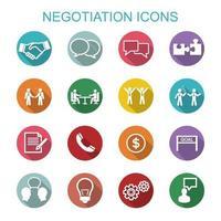 förhandling långa skuggikoner vektor