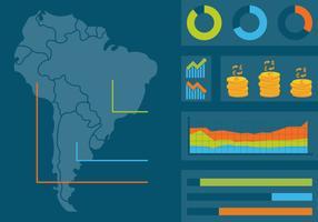 Moderne Südamerika-Karte mit Statistik vektor