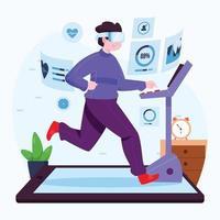 virtuelles Fitnessstudio von zu Hause aus Konzept vektor