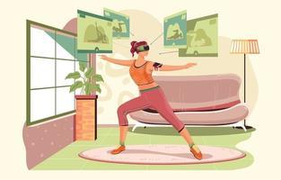 vr Workout zu Hause Konzept vektor