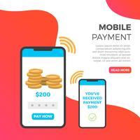 Flache Bezahlung mit Telefon in der modernen Hintergrund-Vektor-Illustration