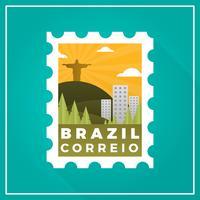 Flache moderne Brasilien-Briefmarke mit Steigungshintergrund vector Illustration
