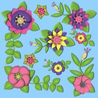 3D Blumen Papercraft vektor