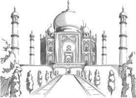 Skizze Gekritzel Taj Mahal Wahrzeichen Indien Ziel Umriss Vektor