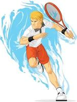 tennisspelare håller racket sport athelete övning tecknad vektor