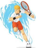 Tennisspieler, der Schlägersportathlete-Übungskarikaturvektor hält vektor