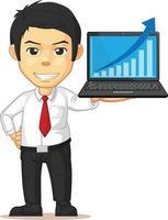 Büroangestellter, der Grafikdiagramm auf Laptop-Präsentationskarikatur erhöht vektor
