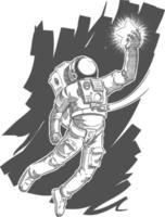 Astronautenskizze Raumfahrer Gekritzel Kosmonaut, der Sternzeichnung ergreift vektor