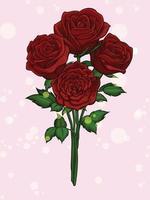 röd ros blommor bukett blomning tecknad illustration. eps vektor