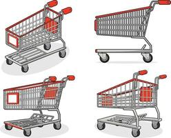 Einkaufswagen Supermarktgeschäft Trolley Cartoon isolierte Illustration vektor
