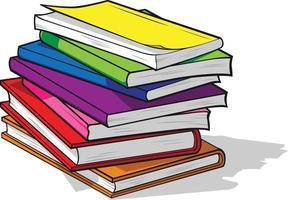 färgglada studie textböcker högen utbildning tecknad illustration vektor