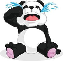 sorglig panda gråter tårar gråtande tecknad illustration vektorritning vektor