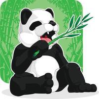hungrig jättepanda som äter bambu lämnar tecknad illustration ritning vektor