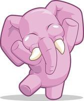glückliche Elefantentanzkinderkarikaturmaskottchenillustrationszeichnung vektor