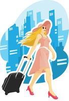Karikaturillustrationszeichnung der Frauentouristenreisestadt vektor