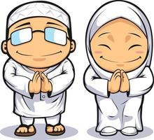 muslim man kvinna hälsning islam ramadan tecknad illustration ritning vektor