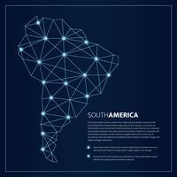 Polygonal Blue Lines Sydamerika Karta Med Glödande Dots Vektor Illustration