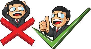 företagsledare kryssmärke symbol tecknad vektorritning vektor