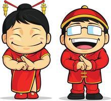 chinesische Neujahrsfeier, die Karikaturillustrationszeichnung begrüßt vektor
