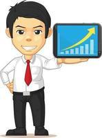 Büroangestellter, der Grafikdiagramm auf Tablet-Präsentationskarikatur erhöht vektor