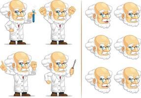 skallig professor geni forskare tecknad maskot illustration ritning vektor